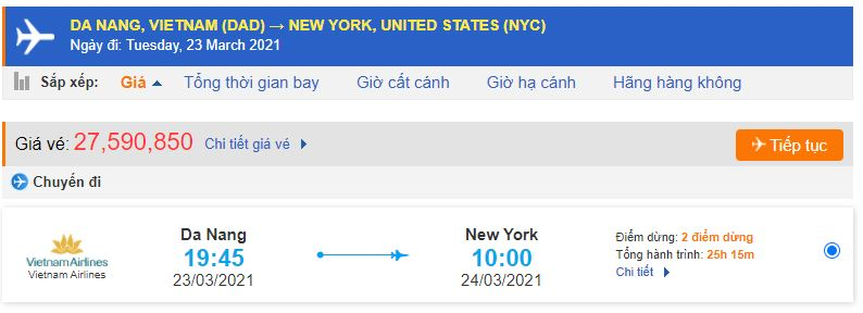 Vé máy bay từ Đà Nẵng đi New York Mỹ