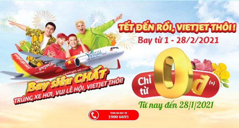 Du xuân cùng Vietjet Air săn khuyến mãi vé máy bay Tết chỉ từ 0 đồng