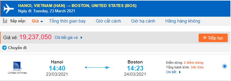 Giá vé máy bay đi Massachusetts United Airlines