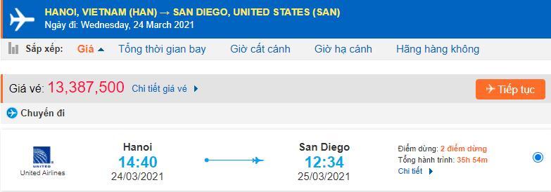Giá vé máy bay đi San Diego United Airlines