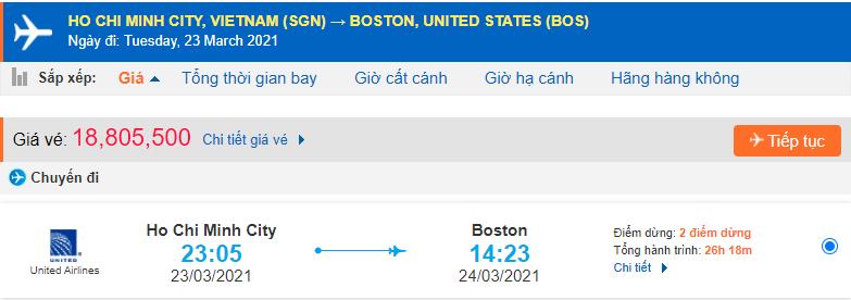 Vé máy bay đi Massachusetts từ Hồ Chí Minh