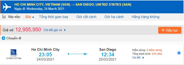Vé máy bay đi San Diego từ Hồ Chí Minh