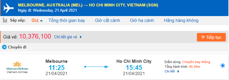 Giá vé máy bay từ Úc về Hồ Chí Minh