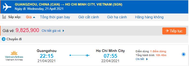 Giá vé máy bay từ Quảng Châu về Hồ Chí Minh