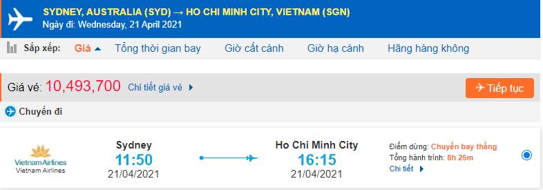 vé máy bay Sydney về Hồ Chí Minh