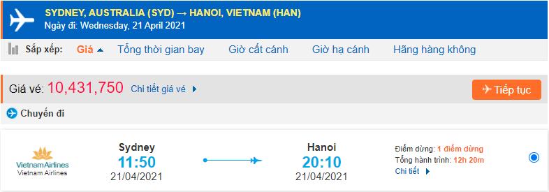 Vé máy bay từ Sydney về Hà Nội