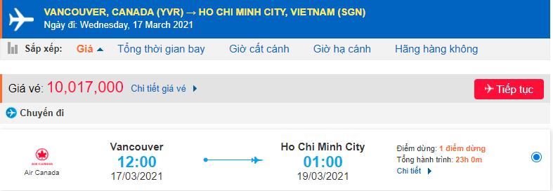 Vé máy bay từ Vancouver về Hồ Chí Minh