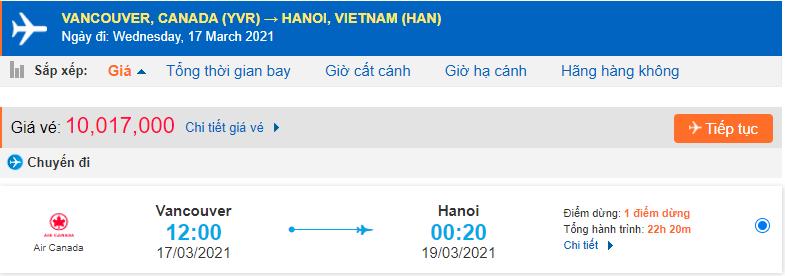 Giá vé máy bay từ Vancouver về Việt Nam