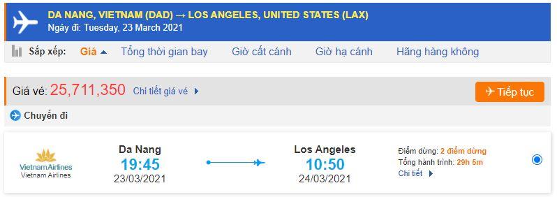 Vé máy bay từ Đà Nẵng đi Los Angeles