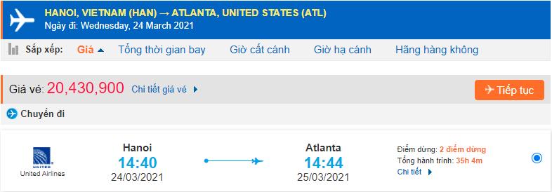 Vé máy bay đi Atlanta United Airlines