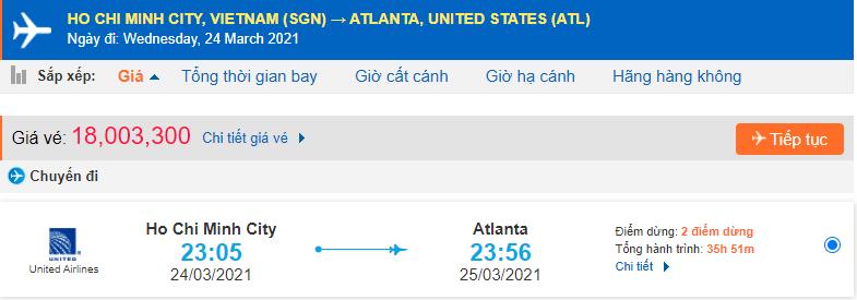 Vé máy bay đi Atlanta từ Hồ Chí Minh