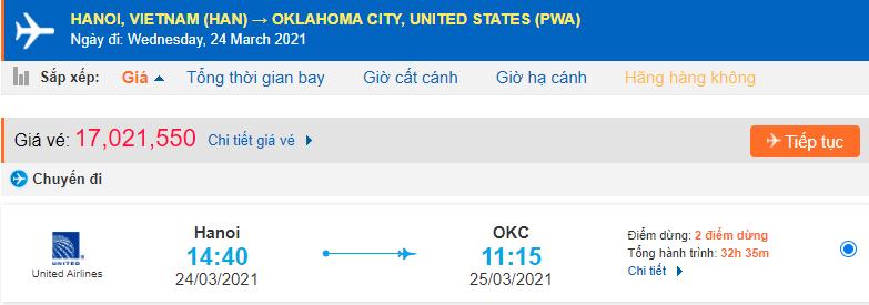 Giá vé máy bay đi Oklahoma United Airlines