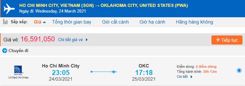 Vé máy bay đi Oklahoma từ Hồ Chí Minh United Airlines