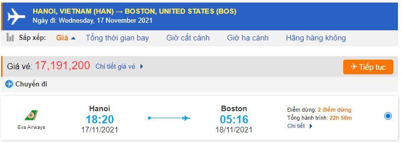 Vé máy bay đi Boston từ Hà Nội