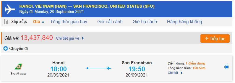Chặng bay Hà Nội – San Francisco