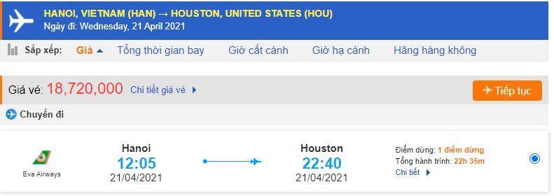 Vé máy bay Eva đi Texas từ Hà Nội