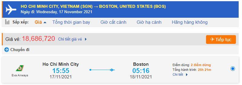 Vé máy bay đi Boston từ Hồ Chí Minh