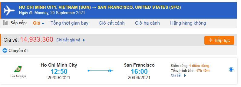 Giá vé máy bay TP Hồ Chí Minh – San Francisco
