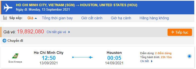 Giá vé máy bay đi Mỹ Texas từ Hồ Chí Minh