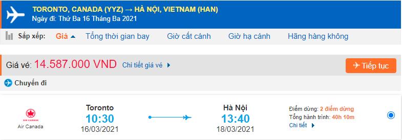 Vé máy bay từ Canada về Việt Nam Air Canada