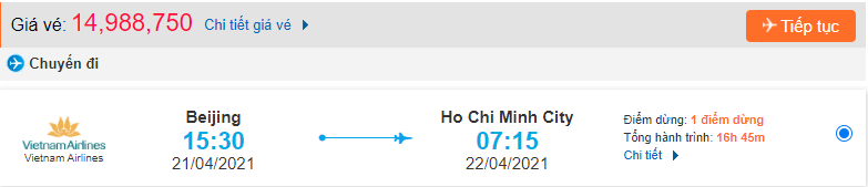 Giá vé máy bay từ Bắc Kinh về Hồ Chí Minh Vietnam Airlines