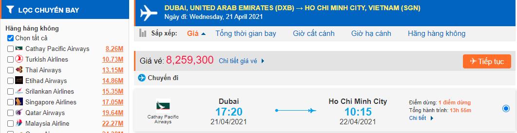 Vé máy bay từ Dubai về Hồ Chí Minh