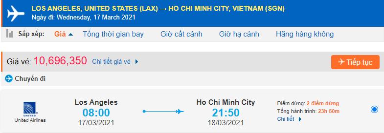 Vé máy bay từ California về Hồ Chí Minh