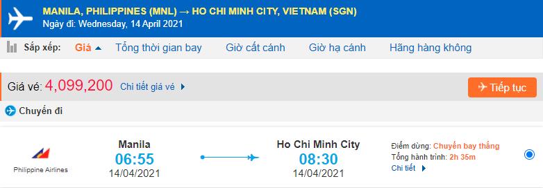 Vé máy bay từ Philippines về Hồ Chí Minh