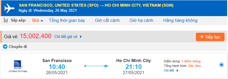 Vé máy bay từ San Francisco về Hồ Chí Minh