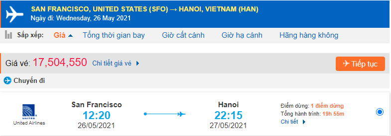 Giá vé máy bay từ San Francisco về Hà Nội