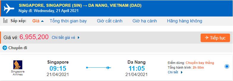 Vé máy bay từ Singapore về Đà Nẵng