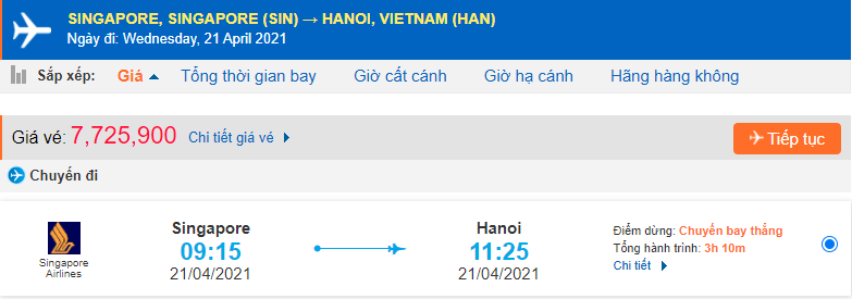 Vé máy bay từ Singapore về Việt Nam Singapore Airlines