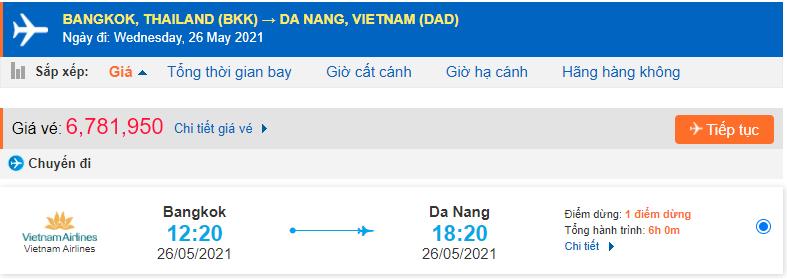 Vé máy bay từ Thái Lan về Đà Nẵng