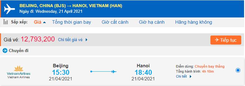 Giá vé máy bay từ Quảng Châu về Hà Nội