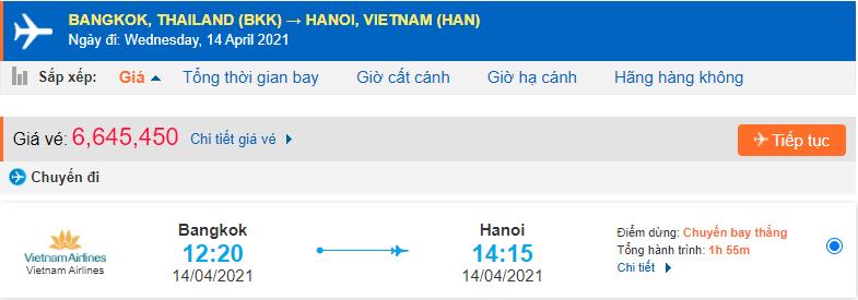Vé máy bay từ Thái Lan về Việt Nam Vietnam Airlines