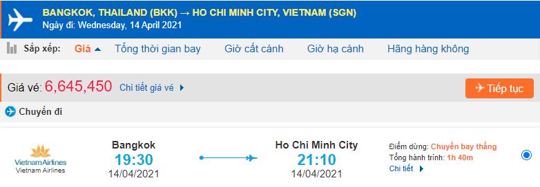 Vé máy bay từ Thái Lan về Hồ Chí Minh