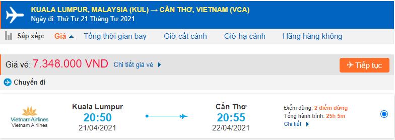 Vé máy bay từ Malaysia về Cần Thơ