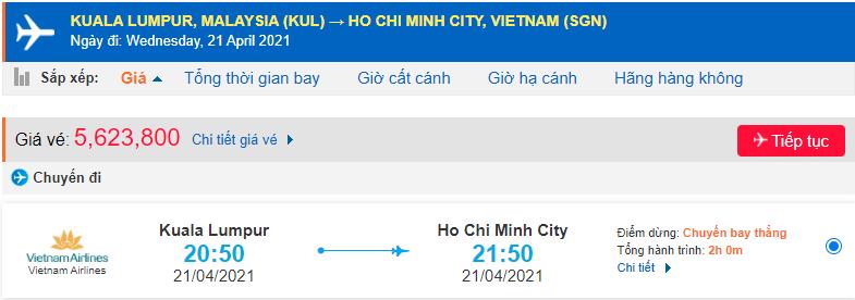Giá vé máy bay từ Malaysia về Hồ Chí Minh