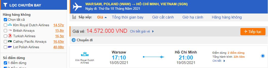 Vé máy bay từ Ba Lan về Hồ Chí Minh