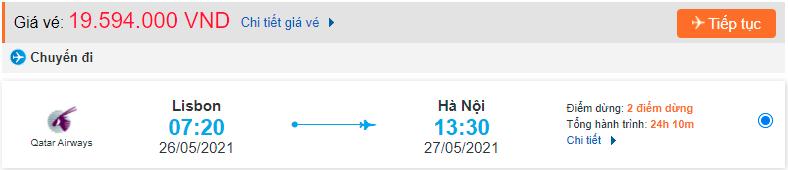 Giá vé máy bay từ Bồ Đào Nha về Việt Nam Qatar Airways