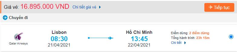 Vé máy bay từ Bồ Đào Nha về Hồ Chí Minh