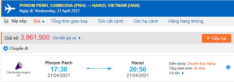 Vé máy bay từ Campuchia về Việt Nam