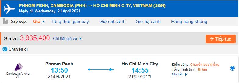 Vé máy bay từ Campuchia về tp Hồ Chí Minh