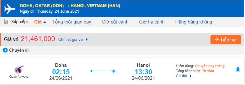 Vé máy bay từ Doha về Việt Nam Qatar Airways
