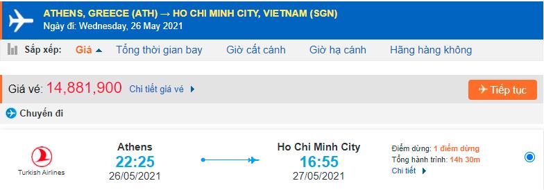 Vé máy bay từ Hy Lạp về Hồ Chí Minh
