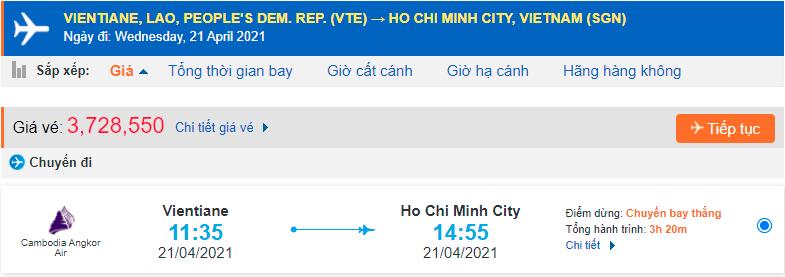 Vé máy bay từ Lào về Hồ Chí Minh