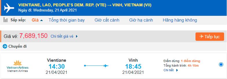 Giá vé máy bay từ Lào về Vinh