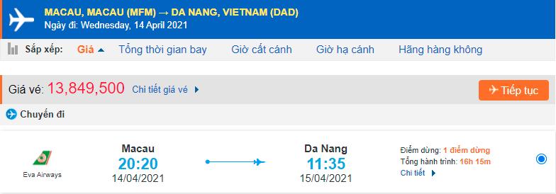 Vé máy bay từ Macau về Đà Nẵng