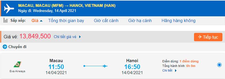Vé máy bay từ Macau về Việt Nam Eva Air