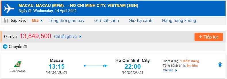 Vé máy bay từ Macau về Hồ Chí Minh